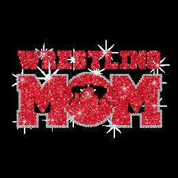 Glittering Wrestling Mom Iron on Rhinestone Transfer Decal