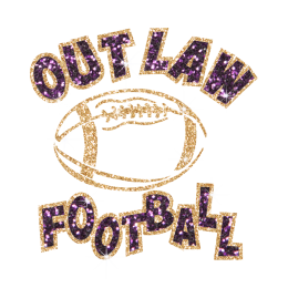 Glittering Out Law Football Iron on Rhinestone Transfer Decal
