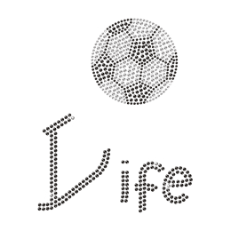 Wholesale Bling Soccer Life Iron on Rhinestone Transfer Motif