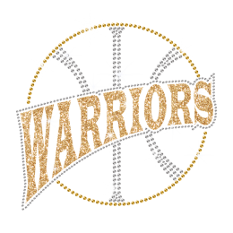Glittering Basketball Warriors Iron on Rhinestone Transfer Decal