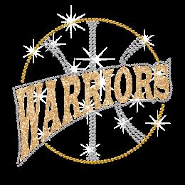 Glittering Basketball Warriors Iron on Rhinestone Transfer Decal