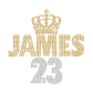 No.23 James with Golden Crown Iron on Rhinestone Transfer Decal