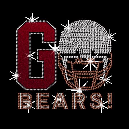 ISS G Bears Football Rhinestone Decal