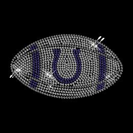 Rhinestone Crystal Iron on Football Motif