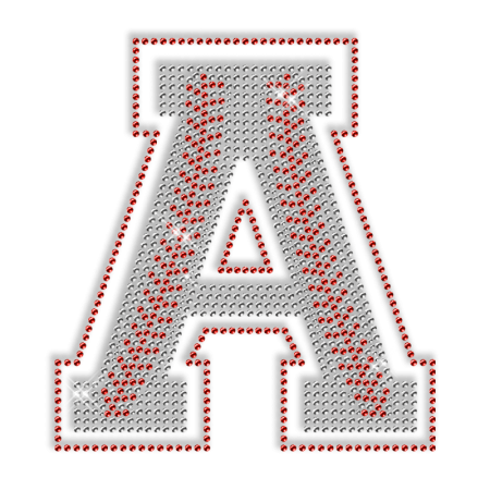 Baseball Detailed Iron on Letter Motif for Clothes
