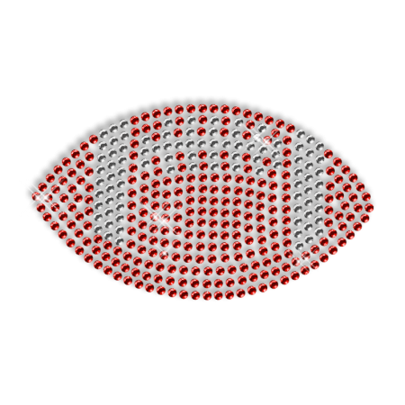 Ruby Rhinestone Hotfix Football Pattern Motif