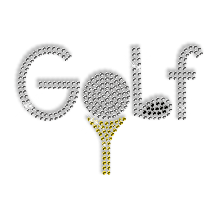 Vivid Golf Lettering Rhinestone Hot Fix Transfer