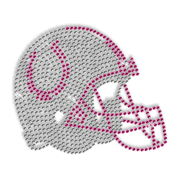 Crystal Iron on Football Helmet Design for Clothes