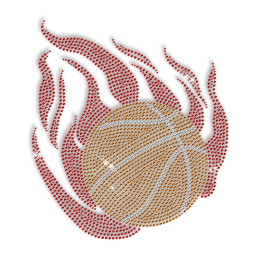 Burning Basketball Rhinestone Bling Iron ons