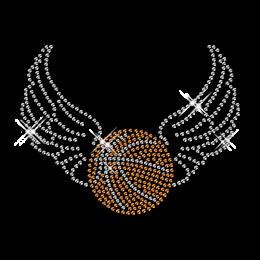 Rhinestone Pattern Basketball with Wings Motif Iron ons