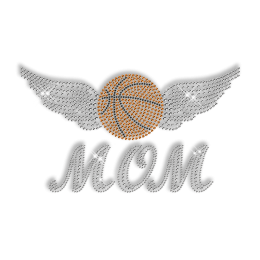 Basketball Mom Iron on Pattern Rhinestone Transfer