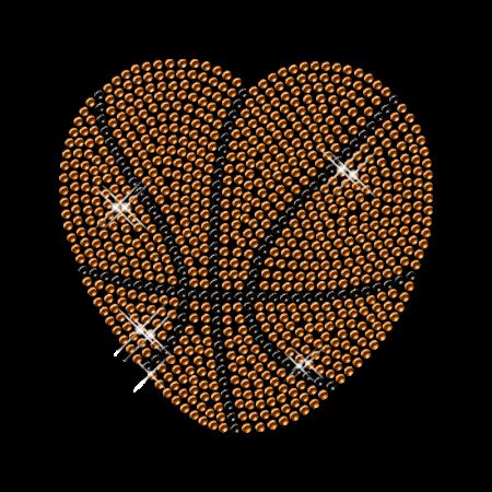 Heart Pattern Iron on Basketball Rhinestone Transfer