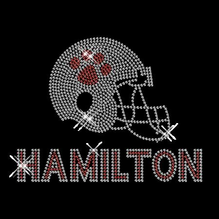 Hamilton Football Helmet Rhinestone Iron on Logo Design