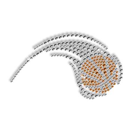 Shooting Basketball Iron on Crystal Motif