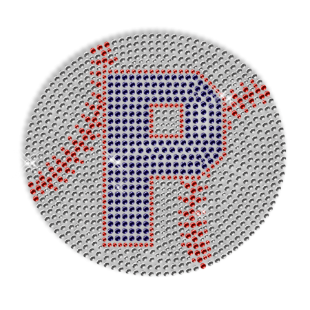 Hotfix Baseball Rhinestone Design with Letter P