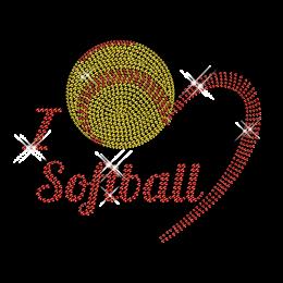 I Love Softball Rhinestone Iron on Bling Design