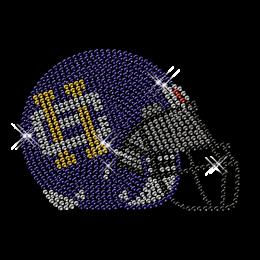 Hotfix Rhinestone Design Football Helmet Transfer