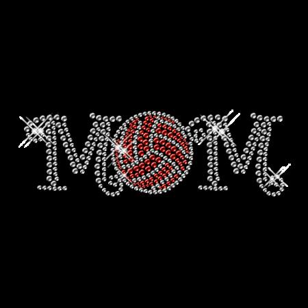 Hot Fix Rhinetone Volleyball Mom Design Pattern