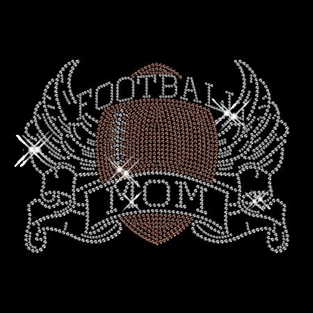 Dazzling Football Mom Hotfix Crystal Pattern for Tee Shirt