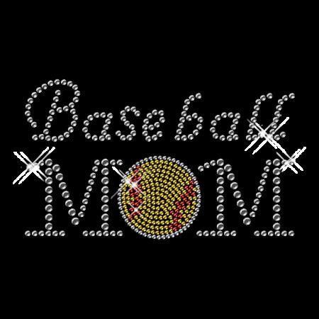 Classy Hotfix Crystal Baseball Mom Transfer