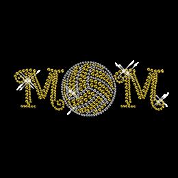 Classic Volleyball Mom Rhinestone Custom Motif Iron ons