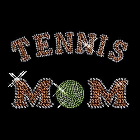 Tennis Mom Iron on Letter Rhinestone Motif