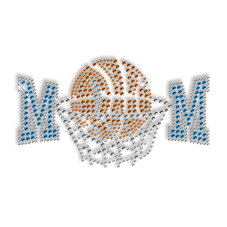 Crystal Hotfix Design Basketball Mom Motif for Clothes