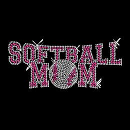 Rhinestone Hot fix Softball Mom Transfer Motif