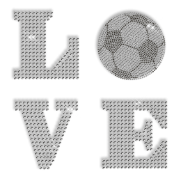 Custom Best Sparkling I Love Football Rhinestone Iron on Transfer Design for Shirts