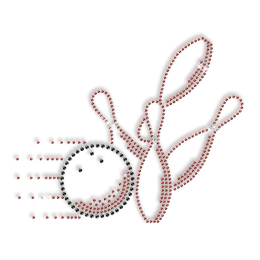 Custom Cute Sparkling Bowling in Red and Black Rhinestone Iron on Transfer Design for Clothes