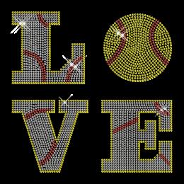 Custom Cool Sparkling Love Baseball Diamante Iron on Transfer Design for Shirts