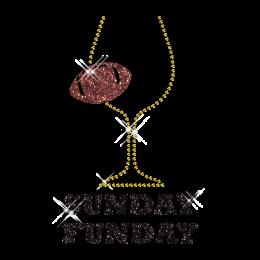 Custom Cool Sparkling Sunday Fun day Soccer Diamante Iron on Transfer Design for Shirts