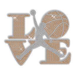 Custom Cool Orange Sparkling Love Basketball Diamante Iron on Transfer Design for Shirts