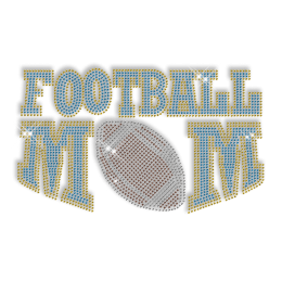 Custom Cool Sparkle Blue Football Mom Diamante Iron on Transfer Design for Shirts