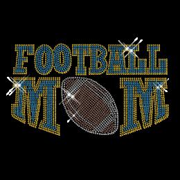Custom Cool Sparkle Blue Football Mom Diamante Iron on Transfer Design for Shirts