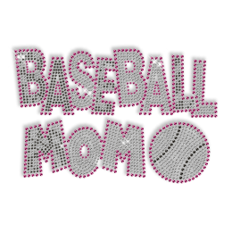 Custom Cool Sparkle Pink Baseball Mom Rhinestone Iron on Transfer Motif for Shirts