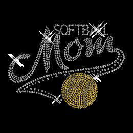 Custom Cool Sparkling Softball Mom Diamante Iron on Transfer Design for Shirts