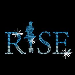 Twinkling Blue Ice Skating Hotfix Rhinestone Transfer