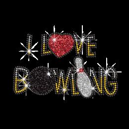 Wholesale I Love Bowling Letters Hot fix Rhinestone Pattern