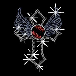Elegant Baseball Cross Wings Iron on Rhinestone Transfer
