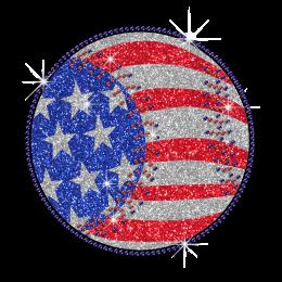 Bling Baseball on American Flag Iron on Glitter Rhinestone Transfer