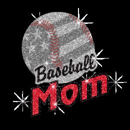 Bling Baseball Mom with US Flag Glitter Nailhead Iron on Transfer