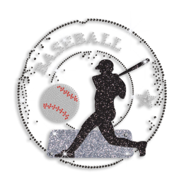 Sports Man with Baseball Rhinestone Iron on Transfer for T Shirt