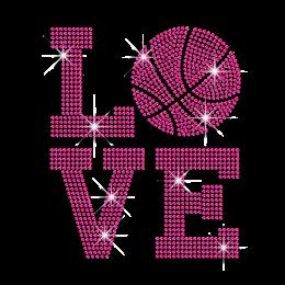 Newly Pink Basketball Love Iron-on Rhinestud Transfer
