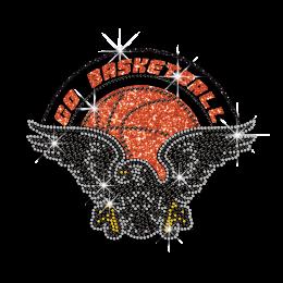 Custom Go Basketball with Eagle Iron-on Rhinestone Glitter Transfer