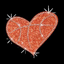 Bling Basketball Heart  Beating Iron-on Glitter Rhinestone Transfer