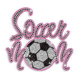 Pink Soccer Hot Iron Diamante Motif