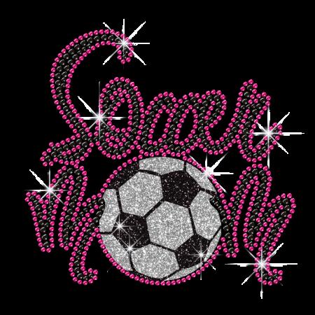 Pink Soccer Hot Iron Diamante Motif