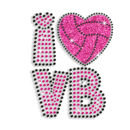 Cute I Heart VB Volleyball Love Iron-on Rhinestone Glitter Transfer
