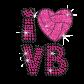 Cute I Heart VB Volleyball Love Iron-on Rhinestone Glitter Transfer